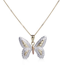 9ct Gold Tri-Colour Diamond Cut Butterfly Pendant & 45cm Chain