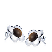 308275 - Orla Kiely Flower Stud Sterling Silver Earrings with Tigers Eye Inlay