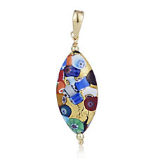 Murano Glass Mosaico Elongated Pendant Sterling Silver