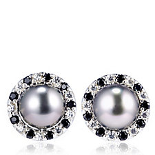 9mm Tahitian Pearls Halo Studs with Saucer Backs Sterling Silver