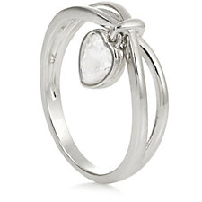 Diamonique 0.7ct tw Heart Charm Ring Sterling Silver