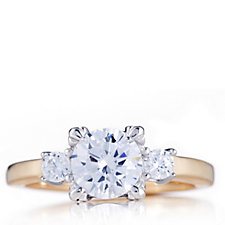313575 - Diamonique 1.7ct tw Mixed Plate 3 Stone Ring Sterling Silver