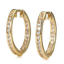 Diamonique 0.4ct tw Front & Back Hoop Earrings 9ct Gold