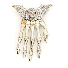 Butler & Wilson Crystal Skull with Bat Wings Hand Shoulder Brooch