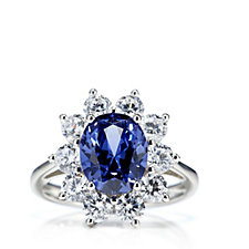 Diamonique 4ct tw Simulated Gemstone Cluster Cocktail Ring Sterling Silver