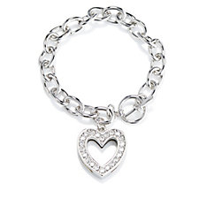 Crystal Glamour with Swarovski Crystals Heart Charm Toggle Bracelet
