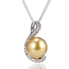 9-10mm Cultured Golden South Sea Pearl Pendant & Chain Sterling Silver