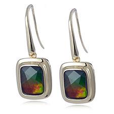 Canadian Ammolite Triplet Faceted Drop Earrings Sterling Silver