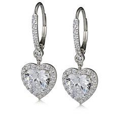 Diamonique Heart Drop 0.54ct tw Leverback Earrings Sterling Silver