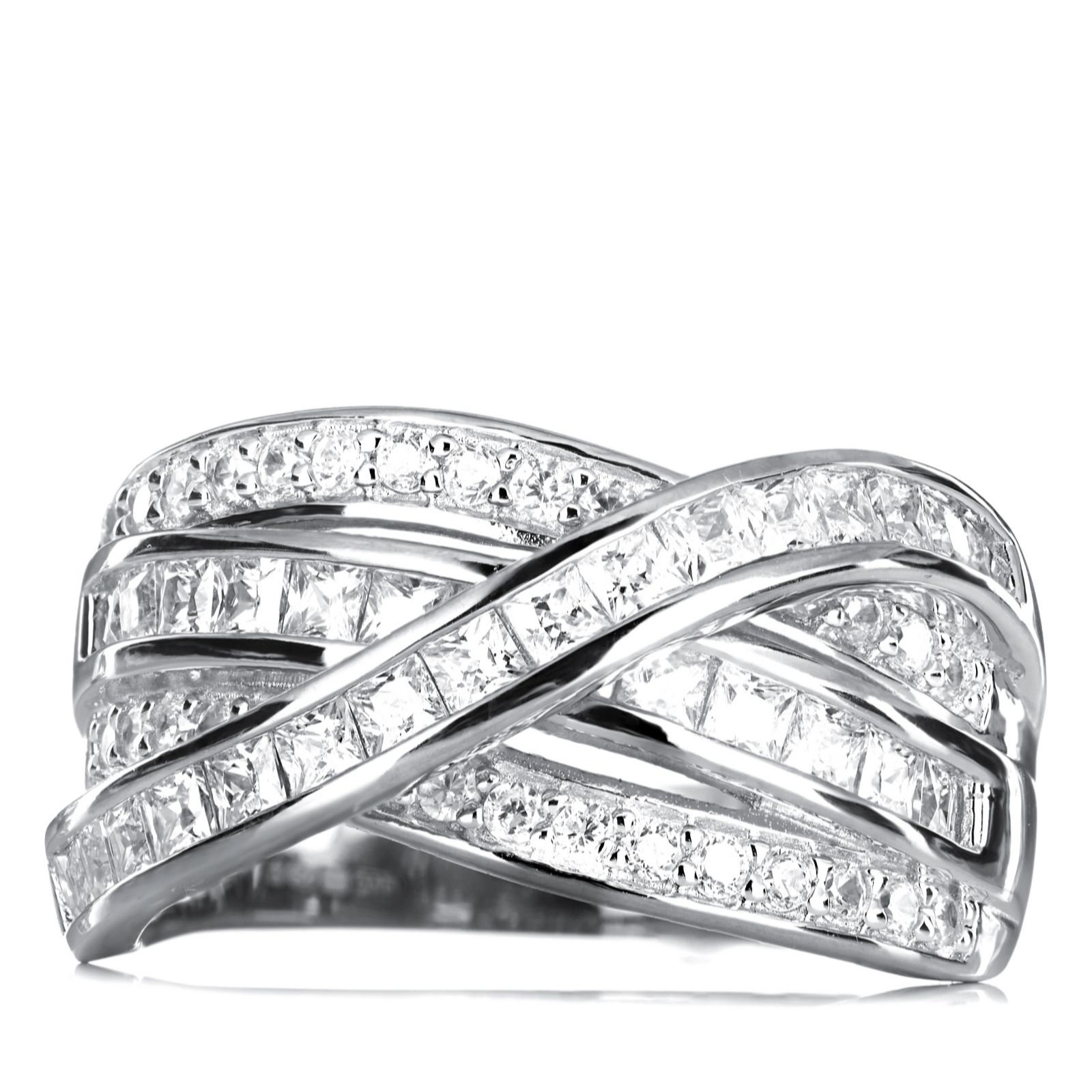 Diamonique 18ct Tw Cross Over Ring Sterling Silver  312876