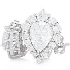 Diamonique 3.1ct tw Pear Drop Earrings Sterling Silver