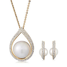Frank Usher Suspended Simulated Pearl Crystal Necklace & Earring Set