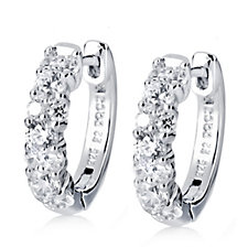 Diamonique 0.7ct tw 22nd Anniversary Huggie Earrings Sterling Silver
