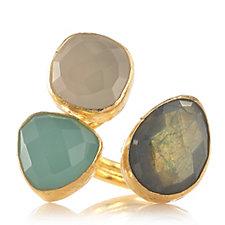 307077 - Ottoman Hands Semi Precious Stone Trio Adustable Ring