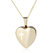 9ct Gold Heart Locket Pendant & Chain