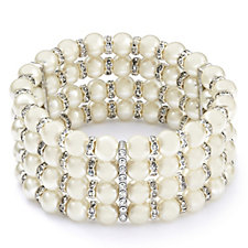 Loverocks Simulated Pearl & Crystal Cuff Bracelet