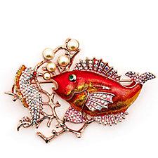 Butler & Wilson Seahorse & Fish Brooch