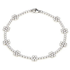 306978 - Diamonique 3ct tw Flower Tennis 18cm Bracelet Sterling Silver