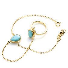 307078 - Ottoman Hands Semi Precious Stone Ring & Bracelet Set