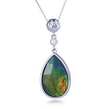 Canadian Ammolite Triplet Faceted Pear Shape Pendant & Chain Sterling Silver