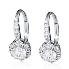 Diamonique 0.9ct tw Halo Leverback Earrings Sterling Silver