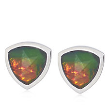 313678 - Canadian Ammolite Triplet Faceted Trillion Cut Studs Sterling Silver