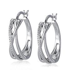 0.03ct Diamond Hoop Earrings Sterling Silver