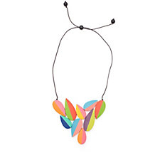 One Button Rainbow Leaf Necklace