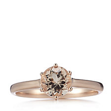 1ct Morganite Round Solitaire Ring Rose Gold Vermeil Sterling Silver
