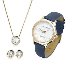 Aurora Swarovski Crystal Watch, Earrings & Necklace Gift Set