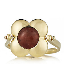 Orla Kiely Rotating Flower Ring with Tigers Eye & Red Quartz Inlay