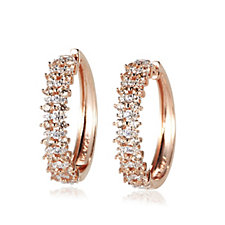 Diamonique 1.4ct tw Pave Hoop Earrings Sterling Silver
