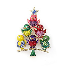 Butler & Wilson Crystal Enamel Festive 'Tree of Birds' Brooch