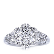 Diamonique 0.94ct tw Flower Cluster Ring Sterling Silver