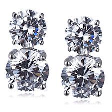 Michelle Mone for Diamonique 5.7ct tw Double Drop Earrings Sterling Silver