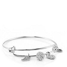 Loverocks Crystal Charm Expandable Bangle