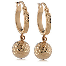 14ct Gold Diamond Cut Ball Charm Hoop Earrings
