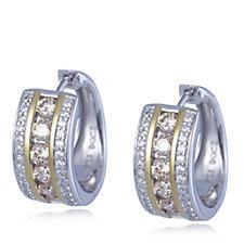 Diamonique 1.7ct tw 3 Row Huggie Earrings Sterling Silver