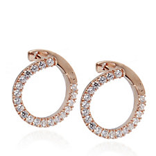 Diamonique 0.4ct tw Front to Back Circle Earrings Sterling Silver