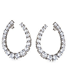 Diamonique 8.6ct tw Front & Back Tear Drop Earrings Sterling Silver