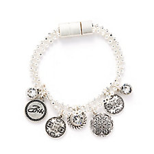 Bibi Bijoux Crystal & Coin Charm Bracelet