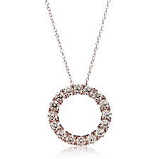 318682 - Diamonique 2.5ct tw Simulated Diamond Circle Pendant & Chain Sterling Silver