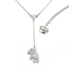 Butler & Wilson Crystal Teddy Bear Pendant 160cm Necklace