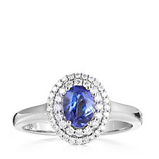 0.7ct AAAA Tanzanite & 0.25ct Diamond Solitaire Ring 18ct Gold