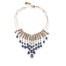 Butler & Wilson Triple Strand Glass Pearl & Crystal 39cm Necklace