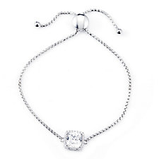 Diamonique 4ct tw Cushion Cut Friendship Bracelet Sterling Silver