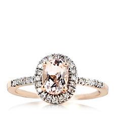0.8ct Morganite Premier & 0.15ct Diamond Oval Halo Ring 9ct Rose Gold