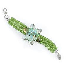 Butler & Wilson Natural Crystals Triple Strand Single Flower Bracelet