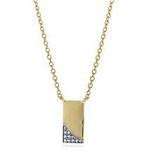 K by Kelly Hoppen White Topaz Encrusted Ingot 45cm Necklace Sterling Silver