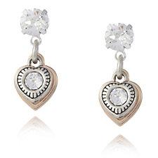 Bibi Bijoux Crystal Heart Charm Earrings